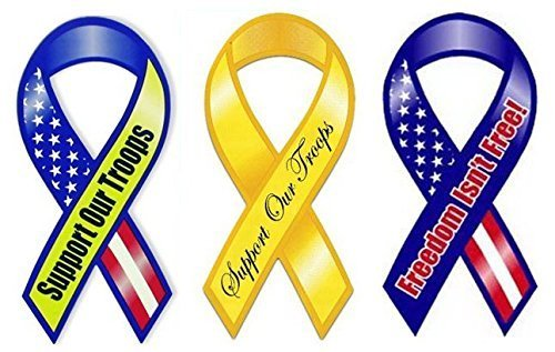 American Magnets Patriotic Ribbons Set-Support Our Troops-Freedom isn't Free-Different Designs, Set of 3
