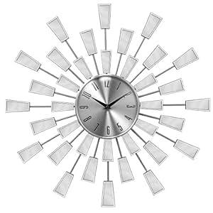 Premier Housewares Diameter Wall Clock with Square Edge Sunburst Mirror - 56 cm