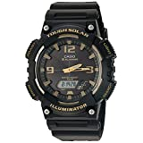 Casio Men's 'Tough Solar' Quartz Stainless Steel and Resin Automatic Watch, Color:Black (Model: AQ-S810W-1A3VCF)