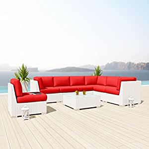 Amazoncom new uduka kahlo 8 pcs outdoor red sectional for Uduka outdoor sectional patio furniture white wicker sofa set
