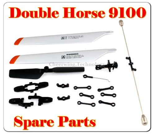 Double Horse 9100 Helicopter Spare Parts main Blade + blade Grip+connect buckle+balance bar+tail blade - 1