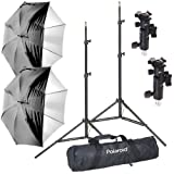 Polaroid Pro Studio Digital Flash Umbrella Mount Kit, Includes: Two (2) Air-Cushioned Heavy Duty Light Stands, Two (2) White Satin Interior Umbrella with Removable Black Cover, Two (2) Umbrella Adapters, One (1) Deluxe Pro Case For The Nikon 1 J1, J2, J3