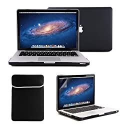 GMYLE(R) 4 in 1 Black Rubberized (Rubber Coated) Hard Case Cover for 13.3
