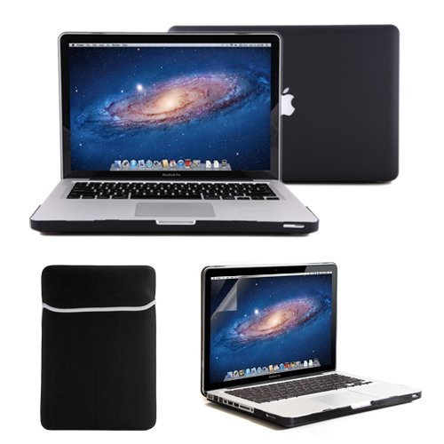 "Gmyle(R) 4 In 1 Black Rubberized (Rubber Coated) Hard Case Cover For 13.3"" Inches Macbook Pro - With Black Soft Sleeve Bag And Silicon Keyboard Protector - 13 Inches Clear Lcd Screen Protector - (Not Fit For 13 Macbook Pro With Retina Display)"