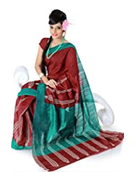 Designersareez Women Bhagalpuri Silk Printed Maroon Saree With Unstitched Blouse(836)