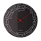 Oliver Hemming 37 cm Side Numbers Domed Designer Wall Clock, Black