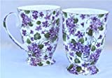 Pair Fine Bone China Mugs Violet Chintz Footed
