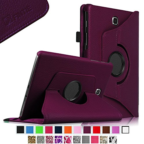 Fintie Samsung Galaxy Tab A 8.0 Rotating Case Cover - Premium Vegan Leather 360 Degree Swivel Stand for Tab A 8-inch Tablet SM-T350 (with Dual Auto Sleep/Wake Feature), Purple