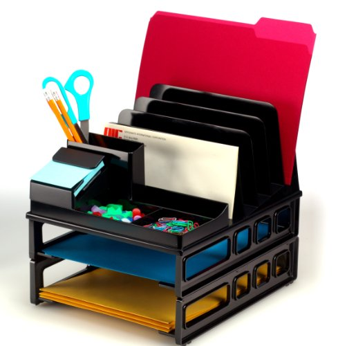 Officemate Front Load Sorter and Organizer with Two Letter Trays, Black (22132)