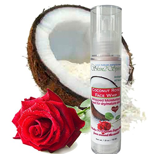 Coconut Rose Face Whip / Antiaging Moisturizing Cream - Organic - Natural - for All Skin Types, Best for Dry Skin - Antioxidant, Plumps Fine Lines - Hyaluronic Acid, Caffeine, Vitamin C, & Green Tea (1.7 oz) (Mature Made Q10 compare prices)
