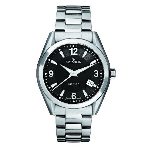 Grovana 1566,1137 - Reloj analógico de cuarzo para hombre, correa de acero inoxidable color plateado