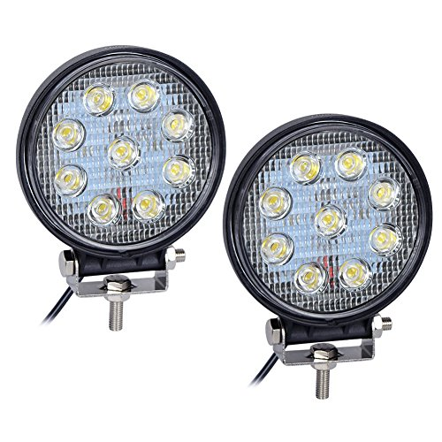 Nilight 2PCS 27W Round Flood LED Light Bar Driving Lamp Waterproof Jeep Off Road Fog Lights for Truck Car ATV SUV Jeep Boat 4WD ATV, 2 Years Warranty