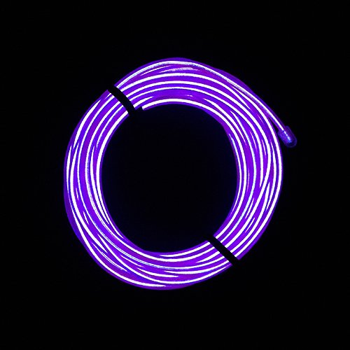 Massmall Christmas Tree Free Bent 15Ft(5M)Indoor String Lights, Neon Light El Wire(Electroluminescent Wire)Neon Tube Glowing Wire With Battery Pack,For Christmas Tree Decorations,Halloween Decorations,Parties,Camping And Bar And Vehicle Decorations 1Pc (P