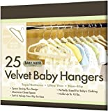 Closet Complete Baby Size Ultra Thin No Slip Velvet Hangers, Ivory, Set of 25 picture