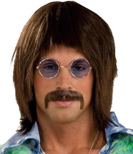 [Popcandy 60's Singer Brown Wig Sonny Retro Hippie] (80s Singers Costumes)