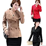 FUNOC New Fashion Ladies Womens Double Breasted Wool Pea Coat Jacket Outwear Peacoat by NYC Leather Factory Outlet