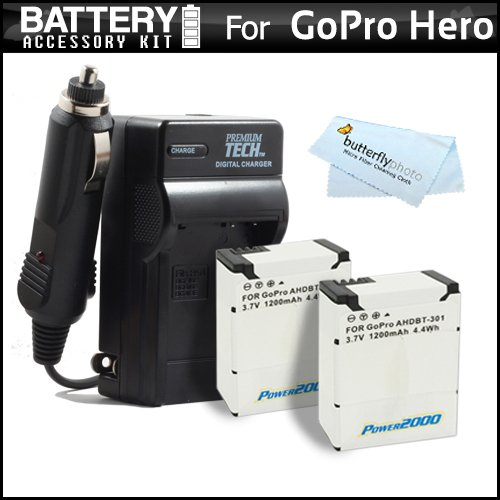 2 Pack Battery And Charger Kit For Gopro Hd Hero3, Gopro Hero3+ And Gopro Ahdbt-201, Ahdbt-301 Includes 2 Extended Replacement (1200Mah) For Ahdbt-301, Ahdbt-201 Batteries + Ac/Dc Rapid Travel Charger + Microfiber Cleaning Cloth
