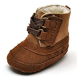 Baby Boys\' Plush Boots Brown US 1