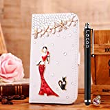 Locaa(TM) HTCE8 HTC One E8 (Not M8) 3D Bling Case + Phone stylus + Anti-dust ear plug Deluxe Luxury Crystal Pearl Diamond Rhinestone eye-catching Beautiful Leather Retro Support bumper Cover Card Holder Wallet Cases - [General series] girl in red dress