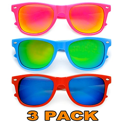 Neon Color With Colorful Mirrored Reflective Lens Retro Wayfarer Sunglasses 3 Pack Combo -Pink/ Blue / Red