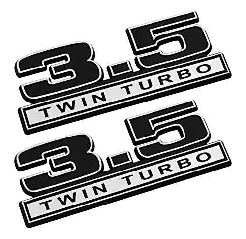 3.5 Twin Turbo Emblems in Black and Chrome - Pair (Turbocharged Decal compare prices)