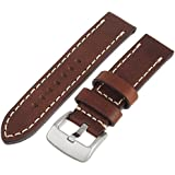 Tech Swiss LEA1555-22 22 mm leather calfskin brown watch band.