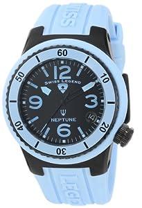 Swiss Legend Women's 11840P-BB-01-BBL Neptune Black Dial Light Blue Silicone Watch