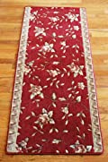 Red Spring Blossoms Carpet Rug Hallway Runner 5'