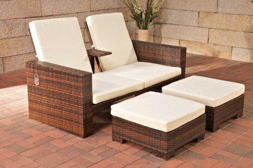 CLP 2er-Sofa RAVENNA aus Polyrattan mit Fußhockern, inkl. Kissen & Polstern (aus bis zu 2 Rattanfarben wählen) braun-meliert bestellen