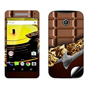 Skintice Designer Mobile Skin Sticker for Motorola Moto E2, Design - Chocolate