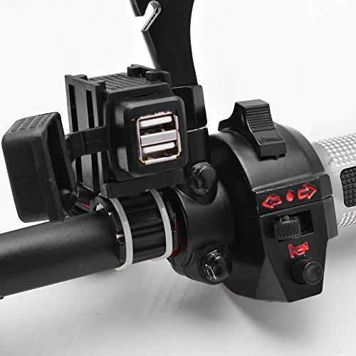 Gearmax® 1.5m Câble Chargeur Etanche Prise Power 2 USB Guidon Moto