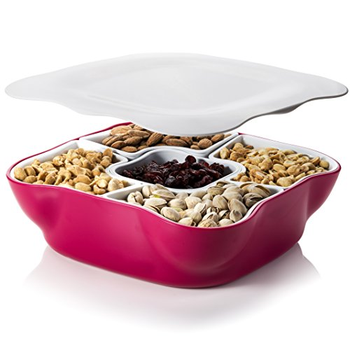 Creative Multi Sectional Snack Serving Tray Set with Lid. BPA Free. Can Hold Dried Fruits, Nuts, Candies, and More. (Glass Vegetable Tray compare prices)