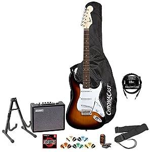 squier by fender sunburst electric guitar kit includes stand strap gig bag amp. Black Bedroom Furniture Sets. Home Design Ideas
