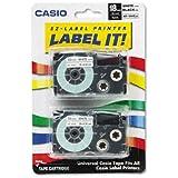 Tape Cassettes for KL Label Makers, 18mm x 26ft, Black on White, 2/Pack