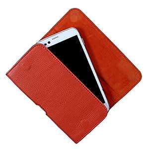 Dooda Genuine Leather Belt Pouch Case For Alcatel POP C7 (ORANGE)