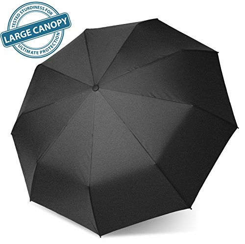 SWISH Compact Travel Umbrella - Windproof Construction with Auto Open/ Close Button for One Handed Operation - Sturdy, Portable and Lightweight for Easy Carrying - Lifetime Guarantee - Black