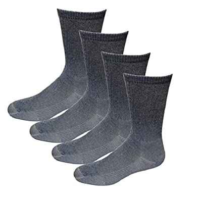 4 Pairs Unisex Men's Women's Merino Wool Hiker Crew Socks Navy/grey M