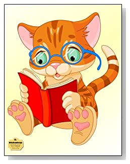 Bookworm Kitty Notebook - Perfect for any kitty lovers or for the child that wears glasses and needs a little self-esteem boost. A cute bespectacled kitty reading a book brightens the cover of this blank and college ruled notebook with blank pages on the left and lined pages on the right.