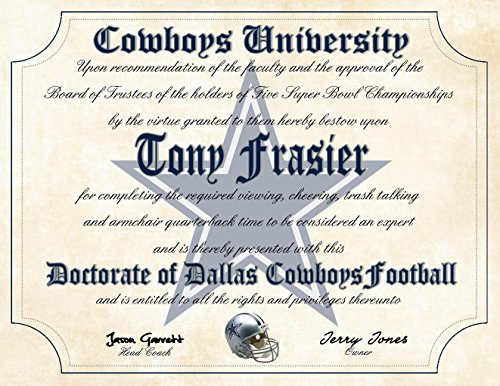 Cowboys University Football Ultimate Fan Personalized Diploma - Perfect Gift - 8.5