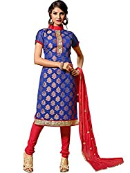 Look N Buy Vibrant Royal Blue Coloured Embroidered Dress Material