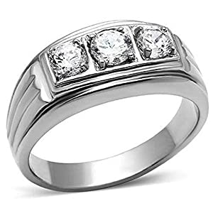 TK946PB CZ AAA GRADE CUBIC ZIRCONIA MENS RING STAINLESS STEEL MANS 3STONE SIZE W