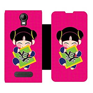 Skintice Designer Flip Cover with Vinyl wrap-around for Micromax Bolt Q339, Design - chines doll