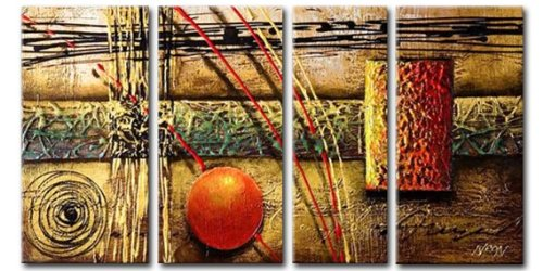 Sangu Wood Framed Wheat Abstract Home Decoration Modern Oil Painting Gift On Canvas 4-Piece Art Wall Decor