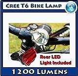 Cree LED T6 Bike Light 1200 Lumens Waterproof Rechargable 4400 mAh Battery + Rear Flashing Light by Techworld