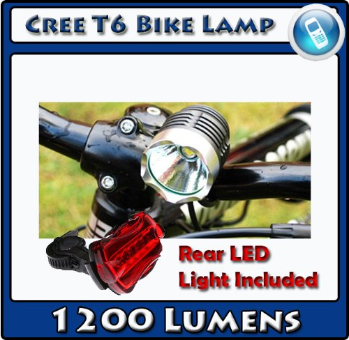Cree LED T6 Bike Light 1200 Lumens Waterproof Rechargable 4400 mAh Battery + Rear Flashing Light by Techworld