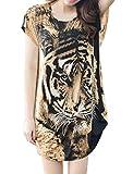 uxcell Tシャツ レディース ニット チュニック トップス 長袖 ゆったり タイガー柄 ブラウン S