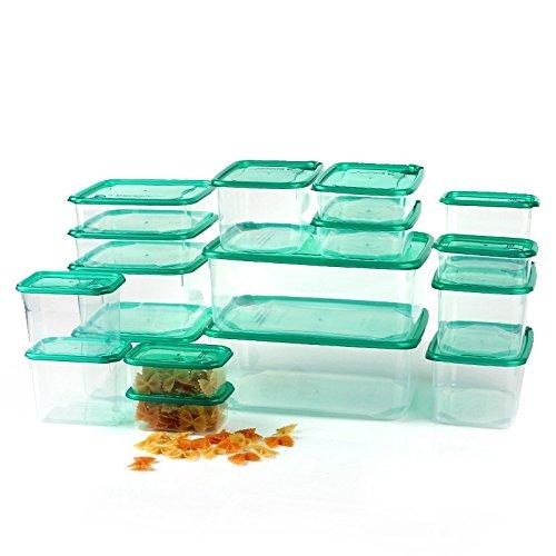 LifeUp- Set di 17 Organizer Cibi Container Trasparente, vaschette termica da microonde Conservare Freschezza Frigo Frigorifero Cucina Contenitori Alimenti