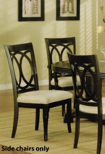 Set Of 2 Dining Chairs With Interlocking Circle Back In Dark Espresso Finish