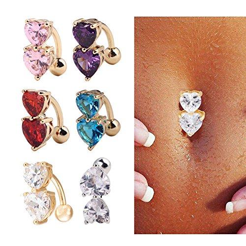 ILOVEDIY 3Pcs Lot Piercing Nombril Acier Inoxydable Chirurgical Brillant Double Coeurs Strass Grossesse Sexy (violet+rouge+ cristal-argent)