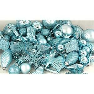 125-Piece Club Pack of Shatterproof Light Aqua Blue Christmas Ornaments